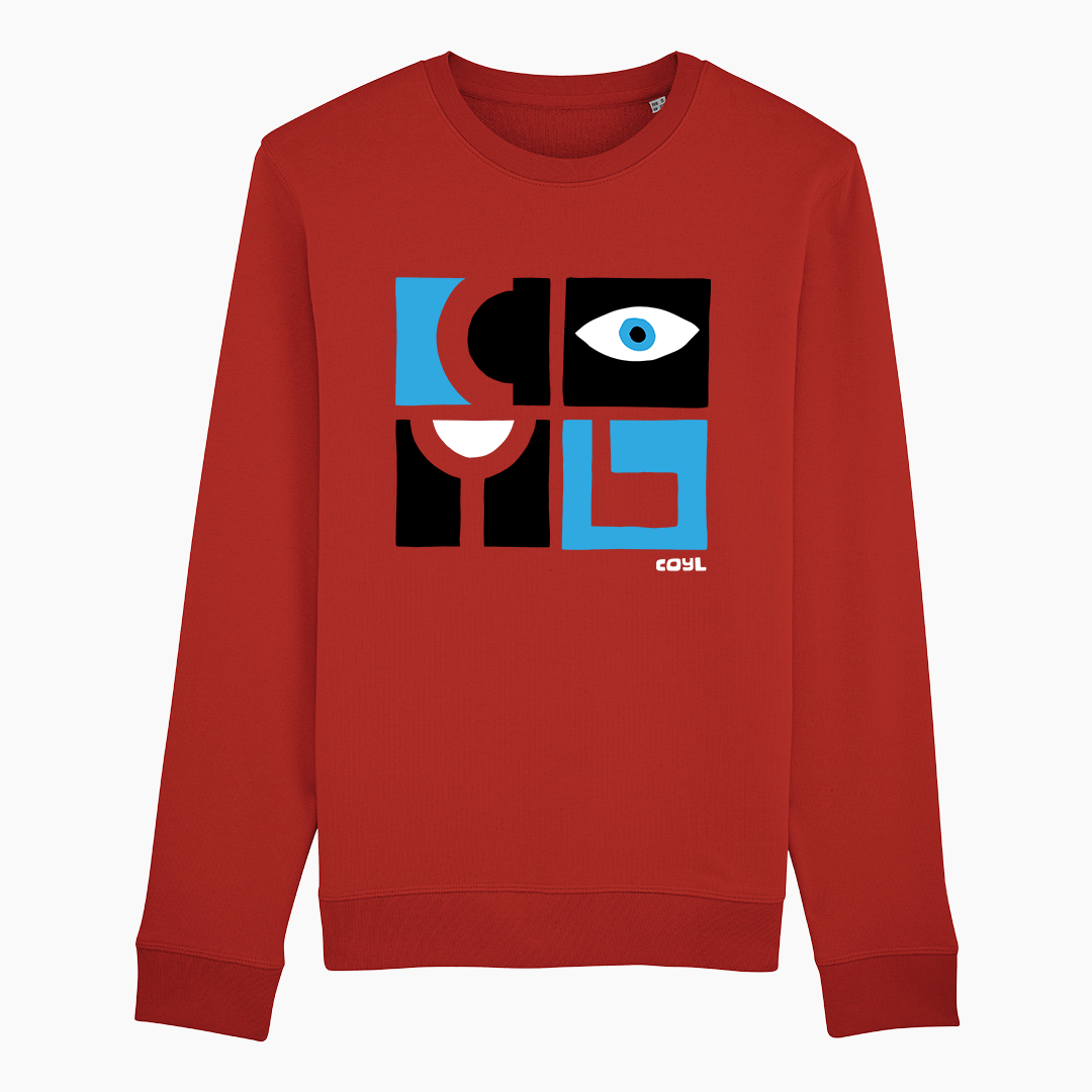COYL Red unisex sweatshirt with 60's jazz style print